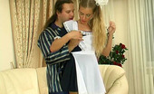 Secretary Pantyhose Diana & Lesley Frisky Chick In School Uniform And Lacy Pantyhose Getting Screwed On Sofa