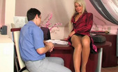 Secretary Pantyhose Cornelia & Adam 395272 Blonde Sec In Patterned Hose Taking The Most From Fucking On Working Desk