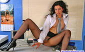 Secretary Pantyhose Frances Hot Secretary Putting Aside Her Laptop To Please Herself With Her Tights On