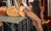 Secretary Pantyhose Florence & Diana Insatiable Secretary Babes Working Hard Longing To Eat Pantyhose Clad Pinks