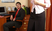 Secretary Pantyhose Christie & Adam Hot Secretary In Control Top Pantyhose Starts Her Working Day With Fucking