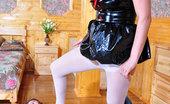 Secretary Pantyhose Susanna & Robin Sassy Girl Putting On Her PVC Nurse Uniform And White Pantyhose For A Bang