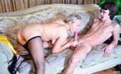 Secretary Pantyhose Dolly & Harry Beautiful Office Babe In Sheer-To-Waist Black Hose Blowing And Riding A Rod