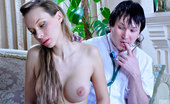 Secretary Pantyhose Irene & Rolf Busty Girl In Barely Visible Pantyhose Tempts A Young Doc Into A Nylon Fuck