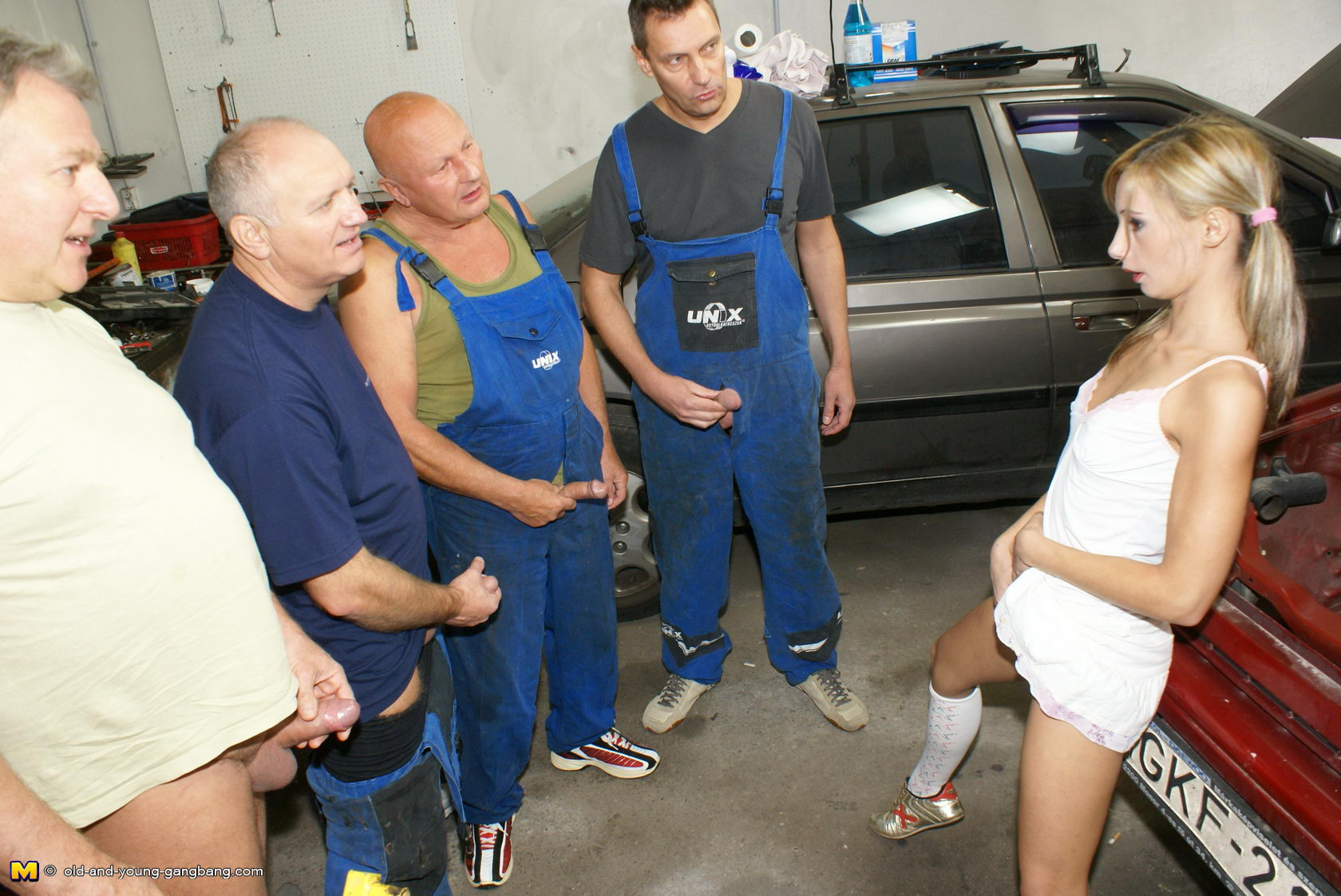 Old And Young Gangbang Hot Teen Takes On A Garage Full Of Horny