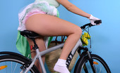 Pin-Up Wow Sexy Blonde Reveals Too Much On Her Bike