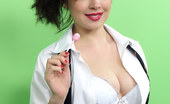Pin-Up Wow Cute College Girl Enjoys A Lollipop As She Strips From Her Uniform