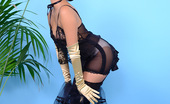 Pin-Up Wow Glamorous Petra Lily So In Satin Corset, Gloves And Knee-Socks Knows How To Tease.