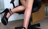 Pin-Up Wow Office Glamor Girl Elle Richie In Satin Lingerie Does Everything To Make Her Boss Happy. Do You Want To Be Her Boss?