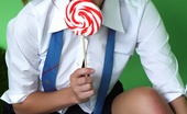 Pin-Up Wow Cute Brunette College Girl Elle Richie Stripteases With Lollipop.
