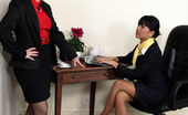 Pin-Up Wow Two Naughty Office Girls Fall Out In The Office And Decide To Teach Each Other A Naughty Lesson.