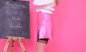 Pin-Up Wow Strict Teacher Elle Richie In Black Stocking Stripteases To Get A Students Attention.