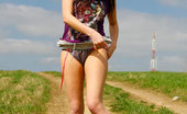 Pee Hunters Naughty Babe Stains Dirt Road With Her Smelly Piss