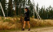Pee Hunters Beautiful Brunette Filmed Pissing Behind The Bush