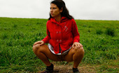 Pee Hunters Girlie Feeling Cold Takes A Quick Leak On A Field