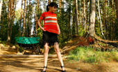 Pee Hunters Dark-Haired Hiker Ho Filmed Pissing In The Forest