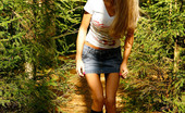 Pee Hunters Leggy Blonde Girl Empties Her Bladder Under A Tree