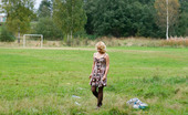 Pee Hunters Blonde Girl Takes A Leak In The Middle Of A Field