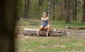 Pee Hunters Shameless Blonde Hoochie Peeing At A Picnic Glade