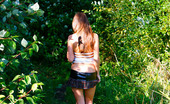 Pee Hunters Cute Young Chick In Checkered Mini Pisses Outdoors