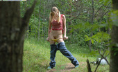 Pee Hunters Young Cute Blondie Waters The Grass With Her Piss