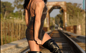 Muscularity Fern Assard Erotic On Train Tracks This Is One Of My Favorite Shoots Of The Year. Fern Wears A Shear Dress, Black G-String Panties, And Thigh High Black Boots. She Takes Some Amazing Shots On The Railroad Tracks As Her Nipples Kept Popping Out Of Her Dress.