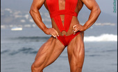 Muscularity Tina Chandler Olympian Poses I Shot Tina Right After She Competed In The Olympia Competition In Vegas, So She Is In Great Shape, With Every Massive Muscle Popping Right Out Of The Picture. It Was A Cold, Foggy Day In Santa Monica, But Tina Heats It Up In A Sexy Red Out