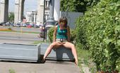 Hot Pissing Street Pee Streamlet A Spread Pussy And A Sparkling Streamlet Of Hot Urine In The Street