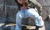 Hot Pissing Nasty Peeing Sexpot Big-Boobed Beauty In Jeans Squats And Voids Her Bladder In The Street