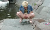 Hot Pissing Blond Pees Outdoors Adventurous Blondie Enjoys Urinating And Pussy Spreading Riverside