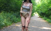 Hot Pissing Outdoor Pee Puddle Amazing Brunette Squats In The Middle Of The Road And Starts Leaking