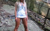 Hot Pissing Outdoor Peeing Fever Oversexcited Blondie Brings Herself On During Pissing In The Open Air