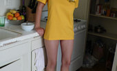 Foot Factory Bambi Blu 421792 10-30-2011 Bambi Is Casual With A T-Shirt And Her Bare High Arched Feet In The Kitchen.