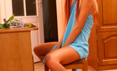 Flower Panties Blonde With A Perfect Body Posing In Blue Thongs