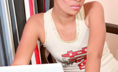Thai Chix Greta With Laptop Stripping Nude