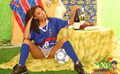 Sexy Olympics French Football Lady Caresse With Titties Ball And Champagne