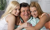 Oldje Delicious Young And Old Threesome Just An Ordinary Day For Oldje Who Comes Home Starving, But Surprisingly His Two Teen Maids Have Not Cooked Anything And Not Even Cleaned The House So He Gets Mad. When The Fat Old Man Is Screaming For Food They Get Scare