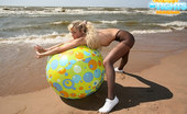 Cuties In Tights Busty Blondie Poses In Nylons Only At The Beach