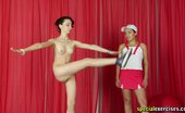 Special Exercises Tall Sports Girl Obeys A Petite Cruel Trainer