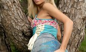 In Focus Girls Katerina Tree Love Graceful Blonde Strips And Fingers Shaved Pussy Outdoors