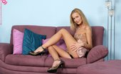 In Focus Girls Michaelle Sofa Dildoer Stunning Blonde Teen Dildos Bald Pussy And Uses Clit Buzzer