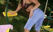 In Focus Girls Isabella Playground Dildoer Brunette Cutie Strips And Dildos To Orgasm On Playground