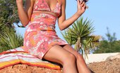 In Focus Girls Klara Summer Toyer Luscious Brunette Drops Summer Dress And Dildos On Cliff