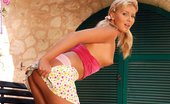 In Focus Girls Christie Alluring Toyer Captivating Blonde Strips And Dildos Pink Quim On Patio