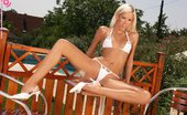 In Focus Girls Boroka Deck Darling Blonde Siren Gets Wet And Dildos Hot Tight Snatch Poolside