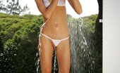 In Focus Girls Marsha Pee And Shower Brunette Hottie Drops Bikini And Cools Off In Shower Outside