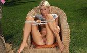 In Focus Girls Elisha Spread Legs Leggy Blonde Drops Panties And Spreads Slick Twat In Garden