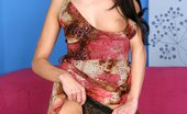 In Focus Girls Evelyn Sensual Moves Captivating Vixen Strips And Bangs Glass Dildo On Couch
