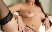 In Focus Girls Stracy Black Suspenders Luscious Brunette Strips Rubs And Dildos Tight Trimmed Pussy