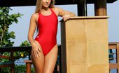 In Focus Girls Sharon Red One-Piece Stunning Blonde Sheds Bathing Suit And Spreads In The Pool